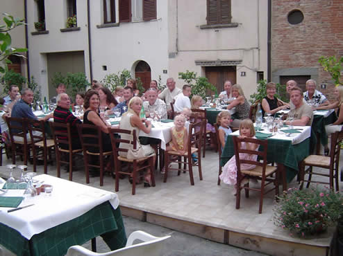 Enjoying a group meal at a village restaurant