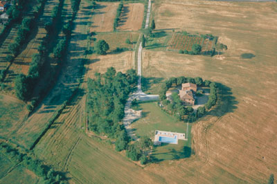 Aerial view of Fattoria Il Musarone near Bettolle, Tuscany. Venue for birthday celebration