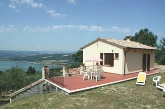 Photo of house called Corbara and view of Lake Corbara, Umbria