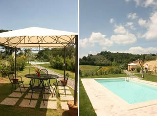 Outdoor dining and pool at Casa Cervognano