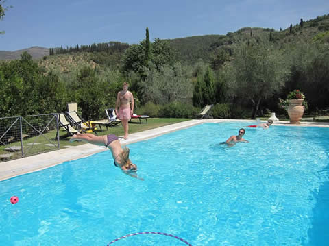 Swimming pool with 3metre deep end at Villa degli Olivi