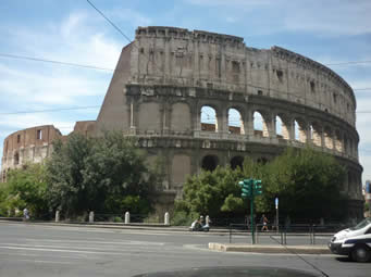 Exterior shot of the Colosseum, Rome